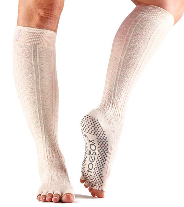 Toesox Knee High Scrunch Half-Toe Yoga Grip Socks