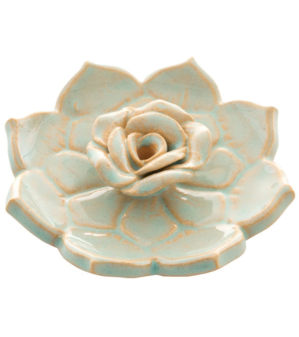 dZi Hand Glazed Lotus Heart Incense Burner
