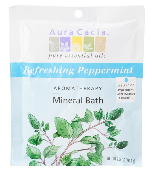 Aura Cacia Refreshing Peppermint Mineral Bath, 2.5oz