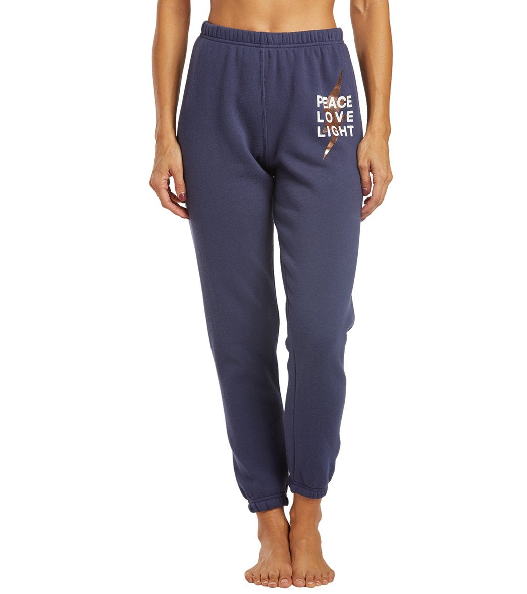 Spiritual Gangster Peace Sessions Sweatpants - Dusty Navy Blue Cotton