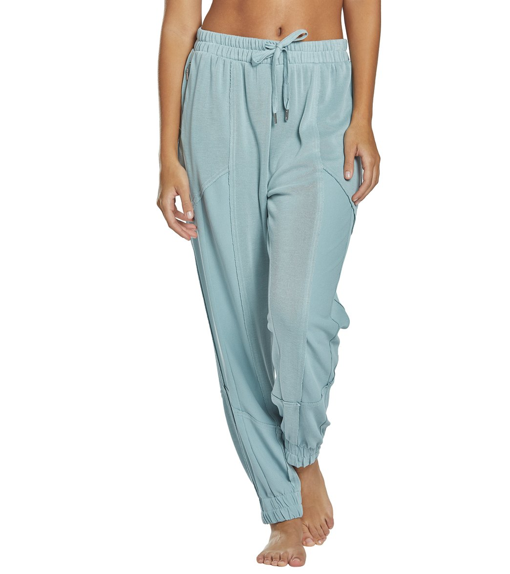 Free People Trekking Out Jogger Pants - Light Green Spandex