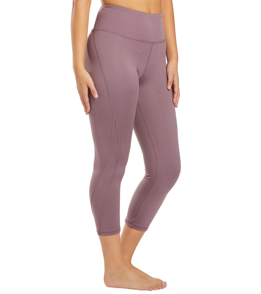 Balance Collection Briar High Waisted Yoga Capri Pants - Black Plum Cotton