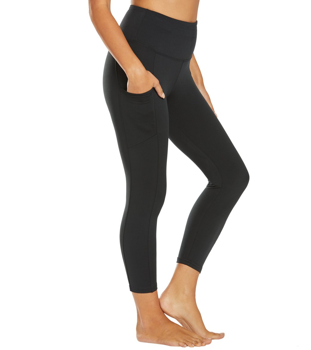 Balance Collection Quinn High Waisted Yoga Capri Pants - Black Cotton