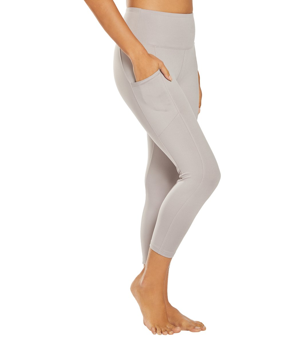 Balance Collection Quinn High Waisted Yoga Capri Pants - Gull Gray Cotton