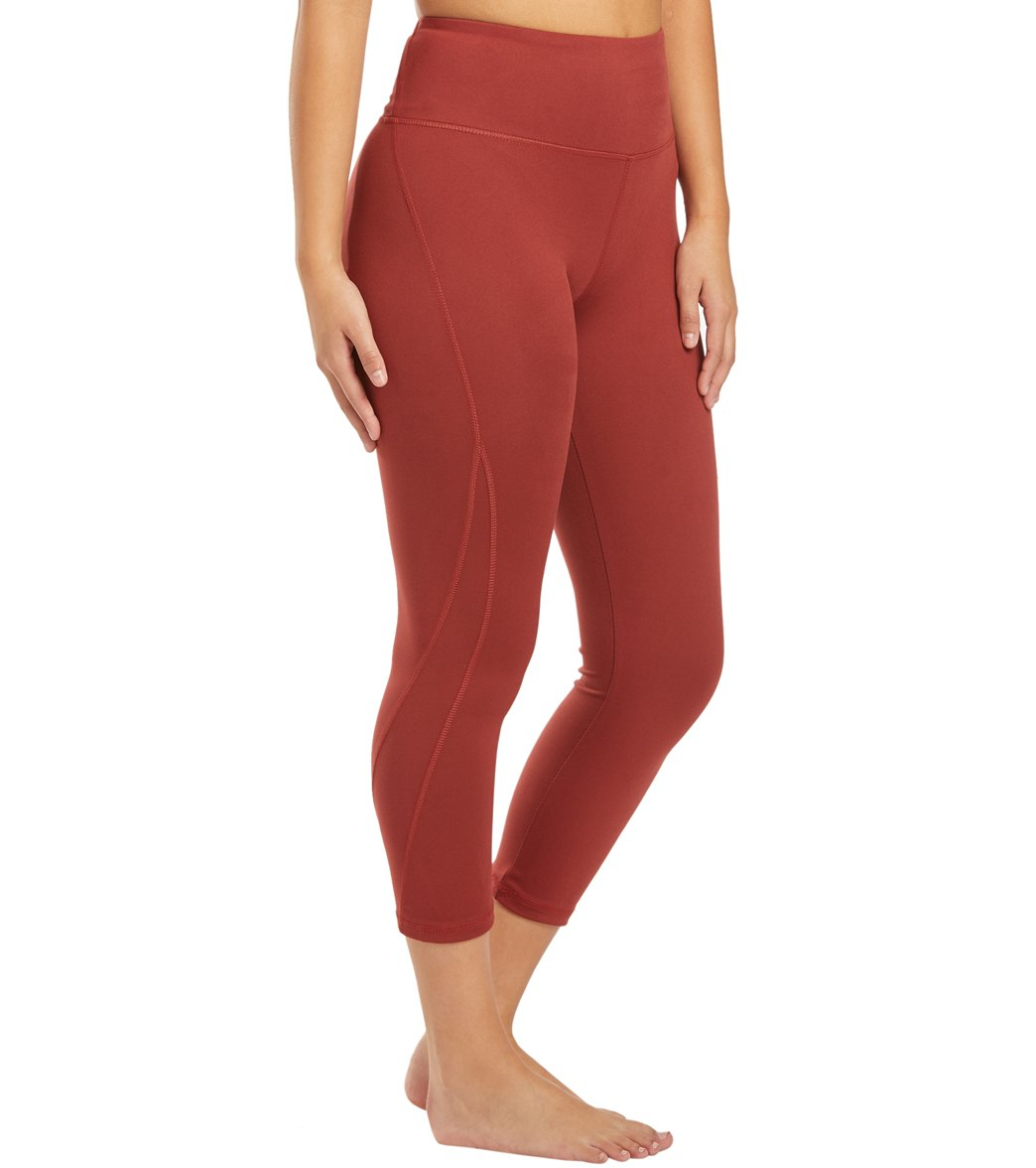 Balance Collection Briar High Waisted Yoga Capri Pants - Burnt Russet Cotton