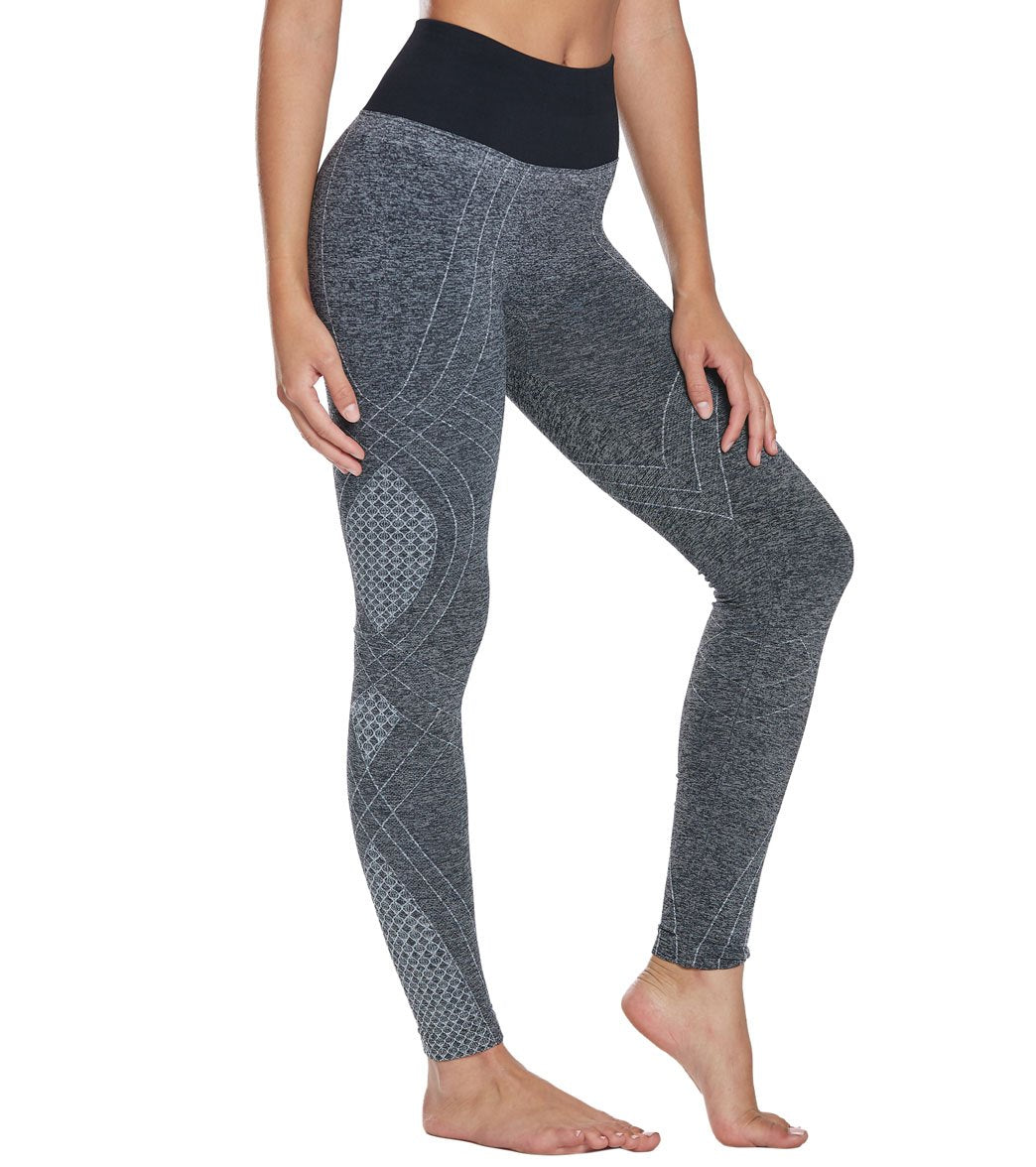 NUX Faint Hearted Seamless Yoga Leggings - Black Heather Spandex
