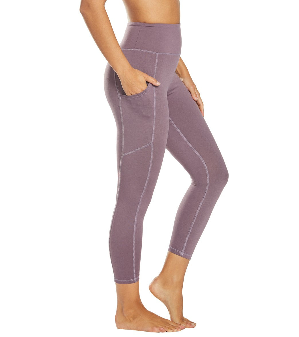 Balance Collection Eclipse Contender Yoga Capri Pants - Black Plum Cotton