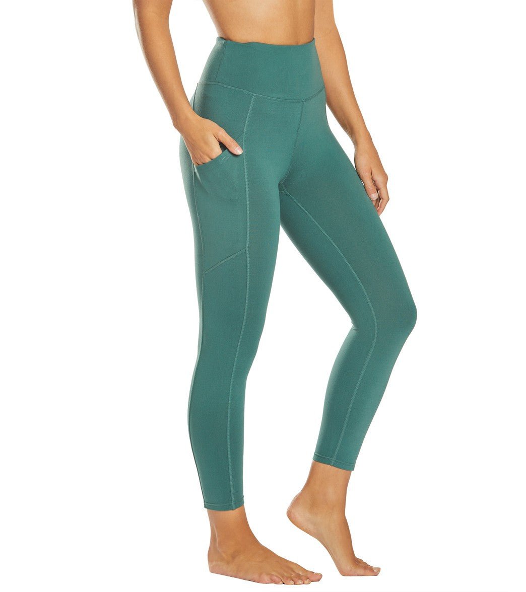 Balance Collection Eclipse Contender Yoga Capri Pants - Mallard Green Cotton