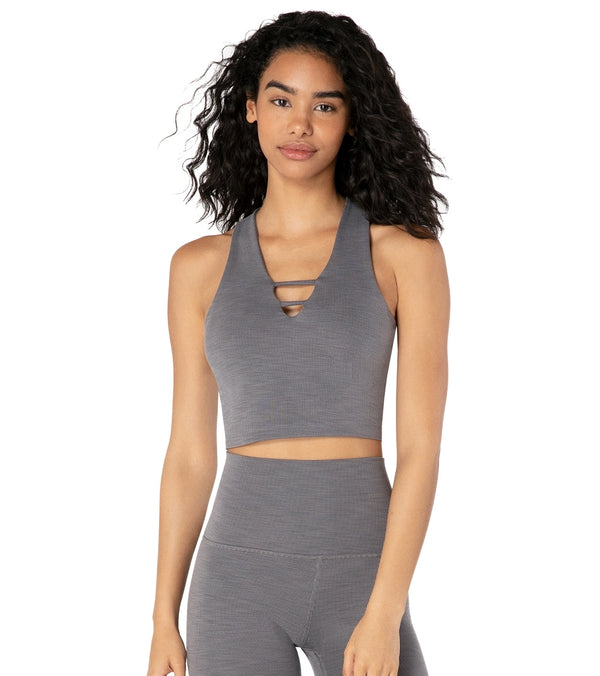 Beyond Yoga Heather Rib Cropped Yoga Tank