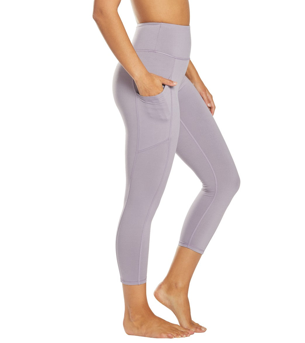 Balance Collection Eclipse Contender Yoga Capri Pants - Purple Ash Cotton