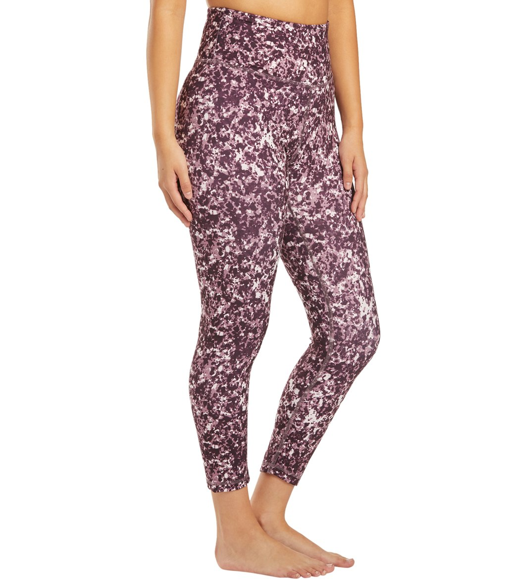 Balance Collection Opatek Lux High Waisted Printed Yoga Capri Pants - Speckle Black Plum Marble Cotton