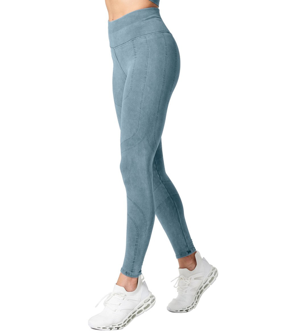 NUX One By Seamless Yoga Leggings - Wash Steely Skies Vintage Spandex