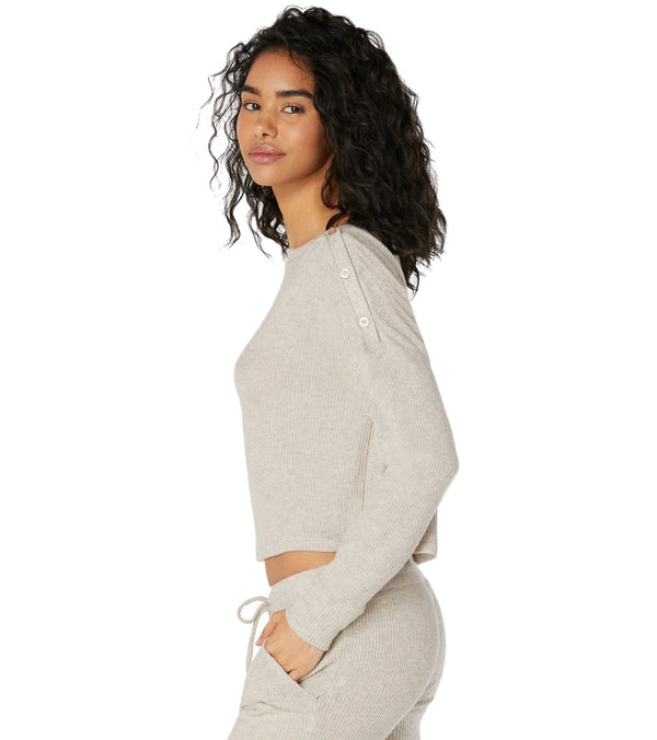 Beyond Yoga Your Line Buttoned Boxy Yoga Pullover