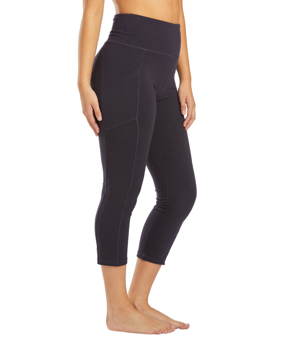 Marika Bailee High Rise Tummy Control Yoga Capri Pants with Pockets - Midnight Blue Cotton