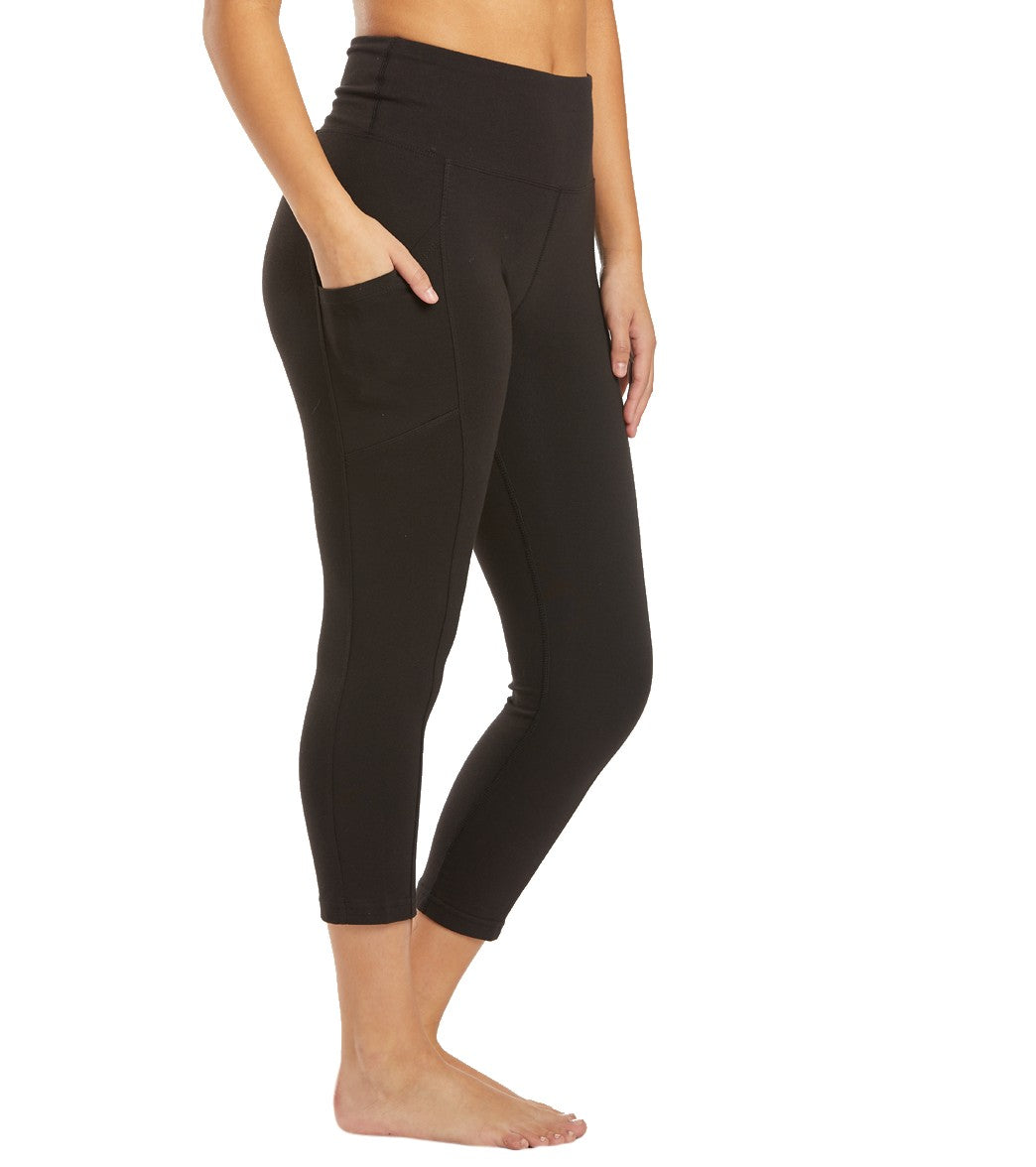 Marika Bailee High Rise Tummy Control Yoga Capri Pants with Pockets - Black Cotton