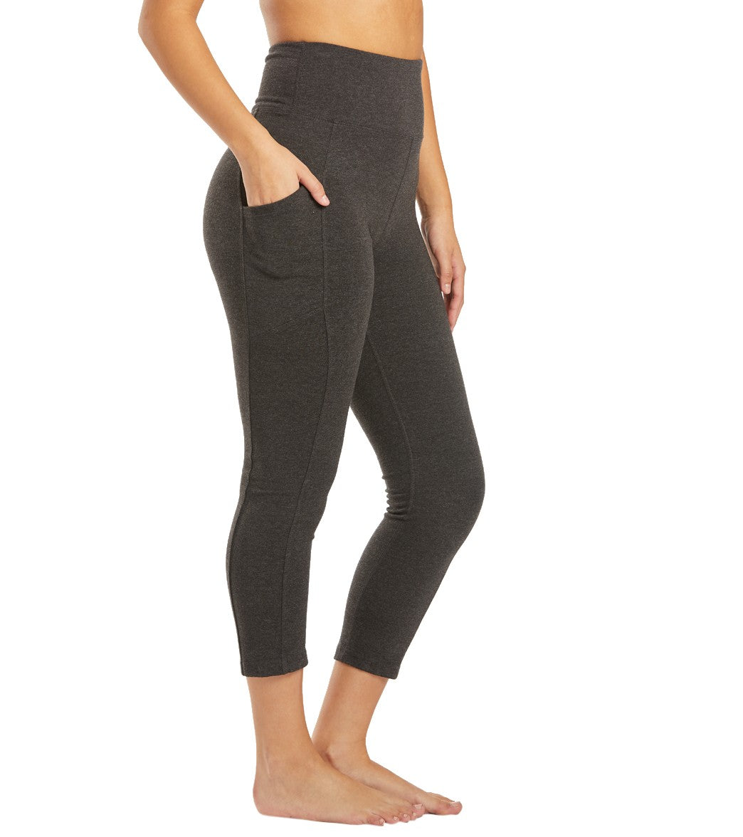 Marika Bailee High Rise Tummy Control Yoga Capri Pants with Pockets - Heather Charcol Cotton