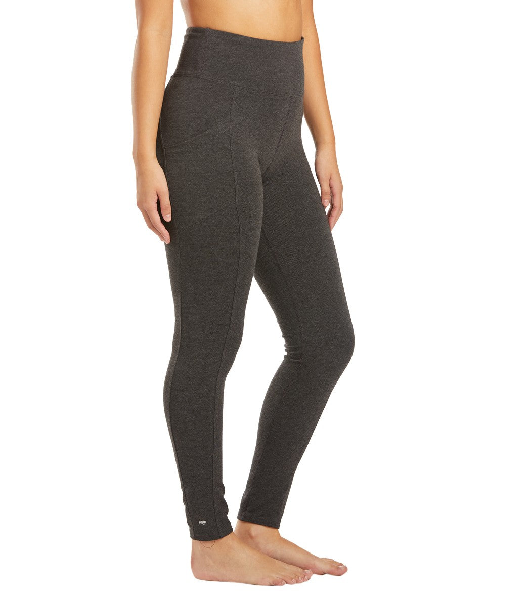 Marika Dana High Rise Tummy Control Yoga Leggings with Pockets - Heather Charcol Cotton