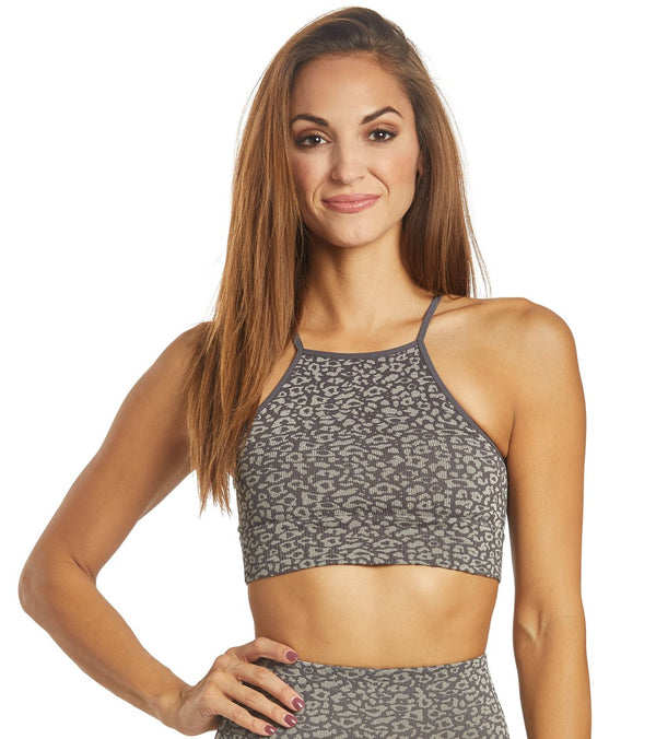 Free People Movement High Neck Leopard Yoga Sports Bra