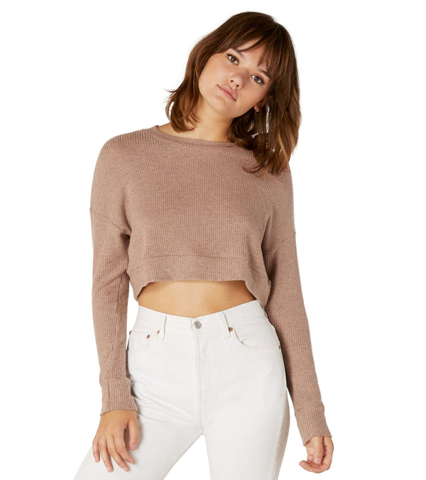 Beyond Yoga In Line Cropped Yoga Pullover