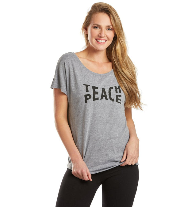 SuperLoveTees Teach Peace Wide Neck Graphic Yoga Tee
