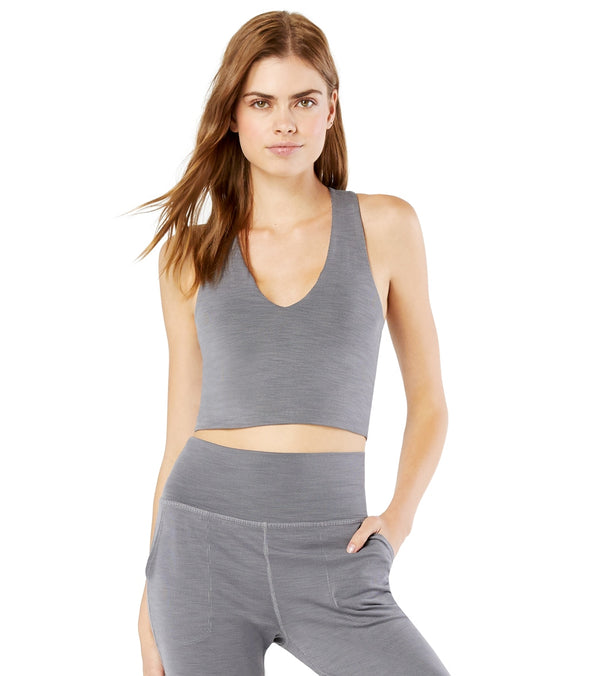 Beyond Yoga Heather Rib Go To Cropped Yoga Tank