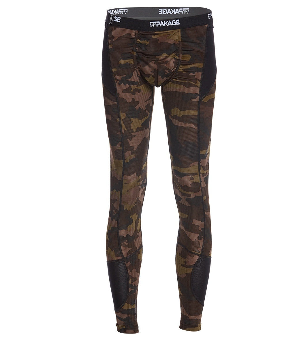 Get maximum coverage and support with the MyPakage Men\\\'s Camo Pro-X Full Length Legging. Made with MyDRY fabric that keeps you cool and dry, these leggings have a no-roll waistband and a two-layer construction that provides excellent performance for athletes. Fabric & Care 100% Polyester. Machine wash cold, tumble dry. Features Keyhole Technology: - 3 dimensional pouch for maximum support. - Eliminates the need to rearrange or adjust. - Prevents chafing. - Decreases temperature, keeping you dry.