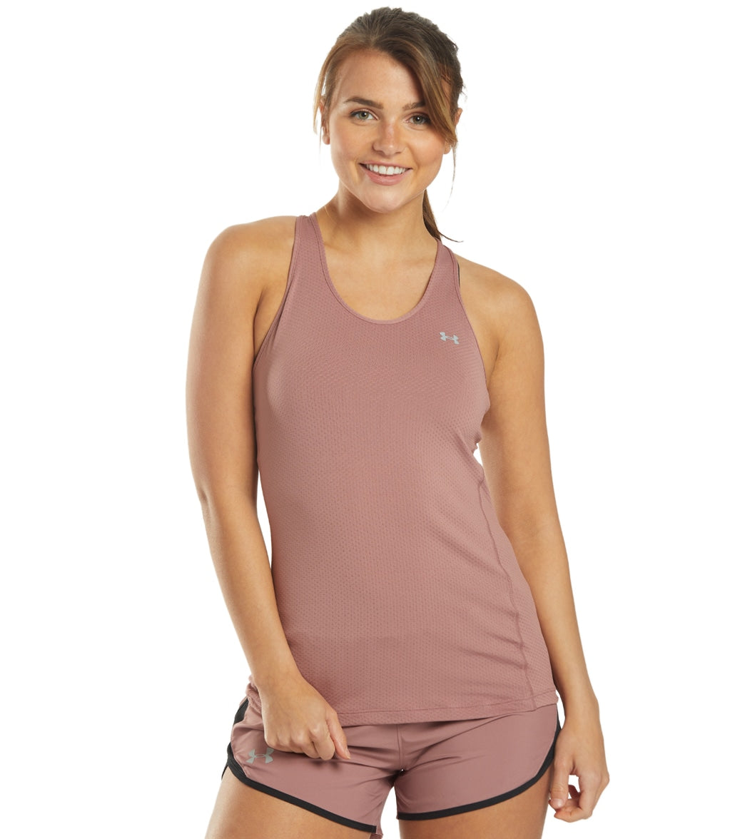 Feel comfortable while you exercise in the Under Armour Women\\\'s UA HG Armour Racer Tank. FeaturesSuper-soft pinhole mesh delivers superior breathability without sacrificing coverage Material wicks sweat & dries really fast 4-way stretch construction moves better in every direction Anti-odor technology prevents the growth of odor-causing microbes Rolled forward flatlock seams deliver a comfortable, chafe-free fit Classic racer backDetailsFabric: 94% Polyester, 6% ElastaneFit: FittedCountry of Ori