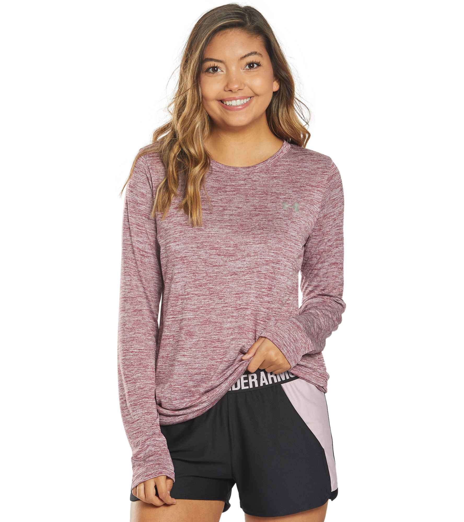 For days that can\\\'t decide between hot and cold, the Under Armour Women\\\'s Tech LS Crew Twist top does the job. Its soft, comfortable fabric keeps you feeling cool, dry and light no matter how much you sweat. Stretchy construction provides you with optimal range of motion. Fabric & Care Machine wash cold and tumble dry low. Do not use bleach, fabric softener, dryer sheets or iron. Updated UA Tech(TM) fabric has a softer, more natural feel for incredible all-day comfort. Signature Moisture Transpo