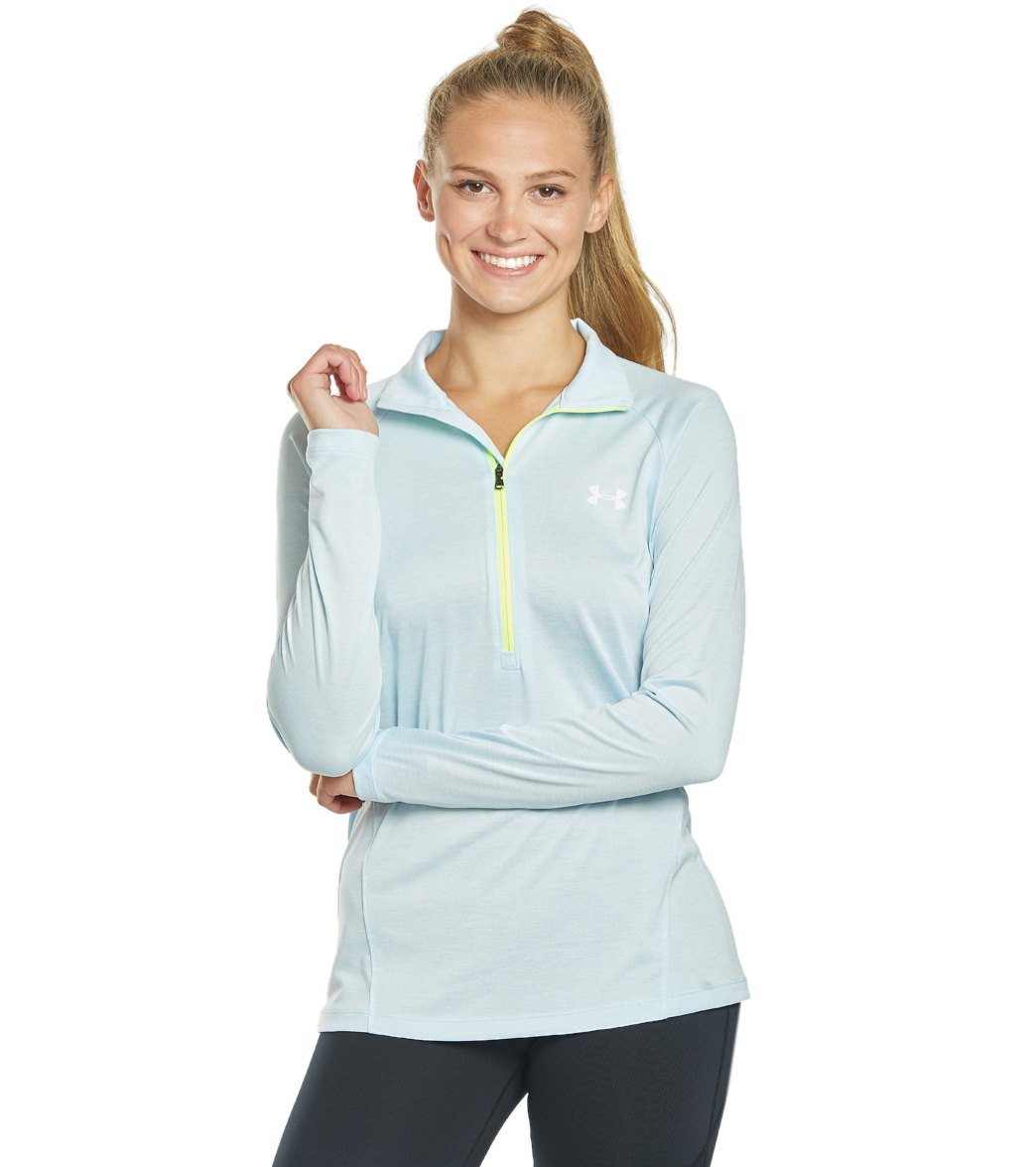 Stay warm during the breezy nights when you workout with the Under Armour Women\\\'s UA Tech Half Zip. FeaturesFitted: Next-to-skin without the squeeze. UA Tech(TM) fabric is quick-drying, ultra-soft & has a more natural feel Material wicks sweat & dries really fast 4-way stretch construction moves better in every direction Anti-odor technology prevents the growth of odor-causing microbes 1/2 zip front with stand collar for extra coverage Raglan sleeves Drop-tail hem offers superior back coverage R