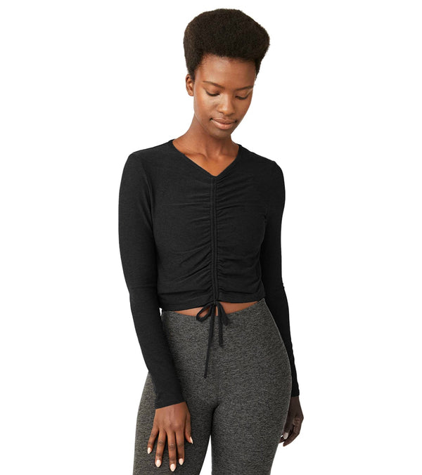 Beyond Yoga Featherweight Scrunch It Up Cropped Pullover