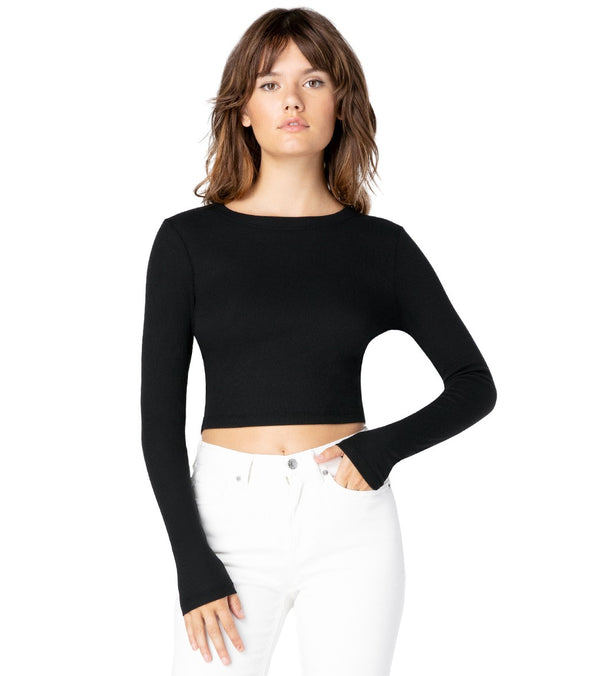 Beyond Yoga Rib Knit Jersey Keep in Line Cropped Pullover