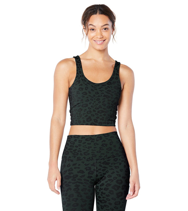 Beyond Yoga Leopard Jacquard Keep it Simple Cropped Tank