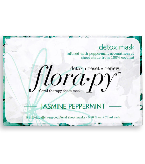 Florapy Detox Aromatherapy Sheet Mask 5 Count, Jasmine Peppermint