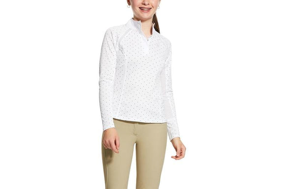 Ariat Girl's Sunstopper 2.0 1/4 Zip Show Shirt - White/Plum Grey dot Kids Clothing and Footwear