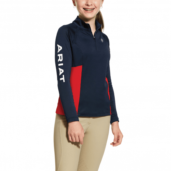 Ariat Girl's Sunstopper Team 2.0 1/4 Zip Navy Kids Clothing and Footwear