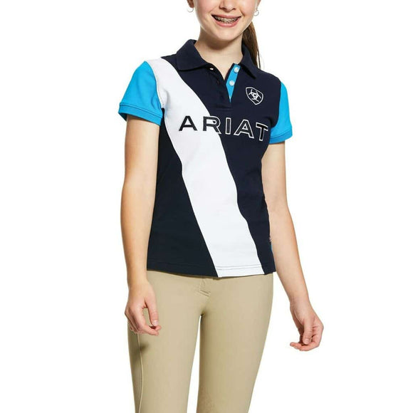 Ariat Girl's Taryn SS Polo Navy/Nautilus Kid's Clothing and Footwear
