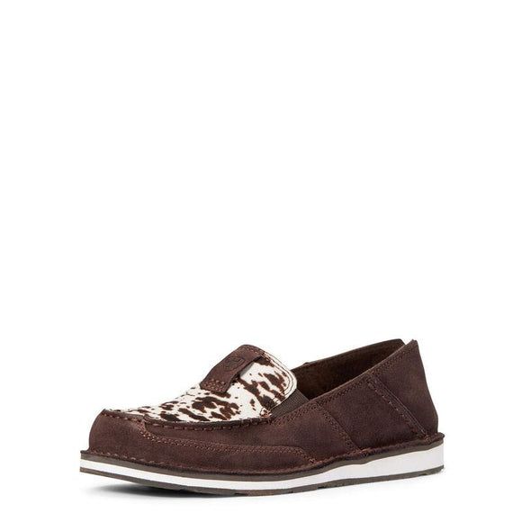 Ariat Women's Cruiser - Choc Chip Suede with Cow Print Footwear