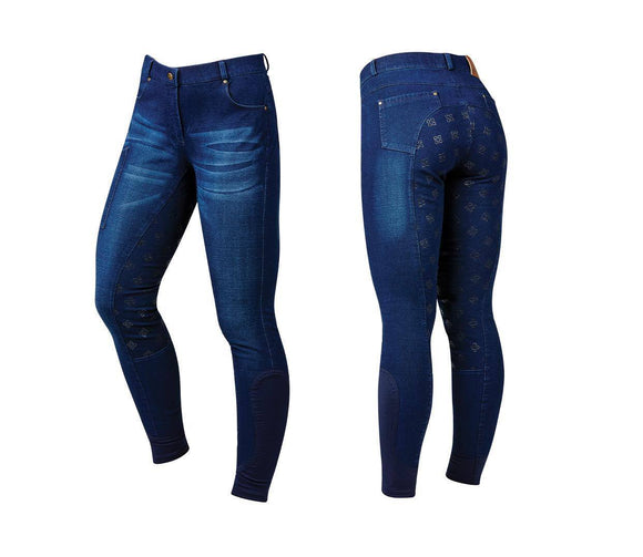 Dublin Shona Full Grip Silicone Print Denim Breeches Breeches/Tights/Jodhpurs