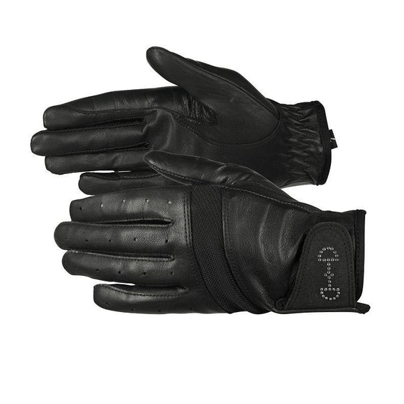 Horze Ladies Leather Mesh Gloves -Black Gloves and Socks