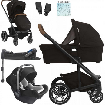Nuna stroller, car seat, and baby basket