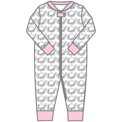 Golf Zipped Pajama - Pink - Posh Tots Children's Boutique