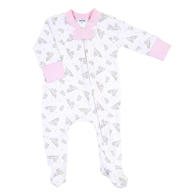 Darling Bunnies Printed Zipped Footie - Posh Tots Children's Boutique