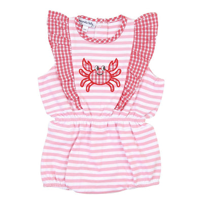 Gingham Crab Applique Ruffle Flutters Bubble - Posh Tots Children's Boutique