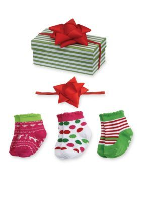 Holiday Baby Socks Gift Box - Posh Tots Children's Boutique