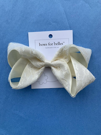 Medium Ivory Satin Lace Overlay Bow - Posh Tots Children's Boutique