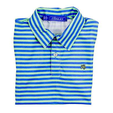 Henry Performance Polo-Blue & Green Stripe