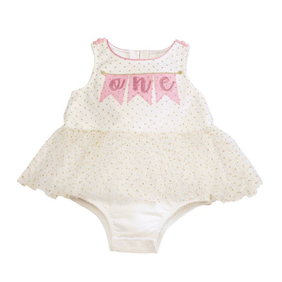 First Birthday Mesh Overlay Crawler - 12/18mos - Posh Tots Children's Boutique