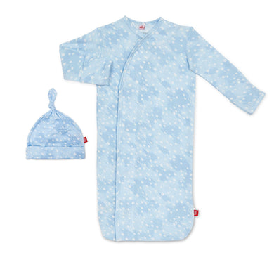 NB-3m Blue Doeskin Magnetic Gown & Hat - Posh Tots Children's Boutique