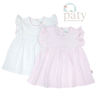 Paty Knit Dress, White or Pink Stripe - Posh Tots Children's Boutique
