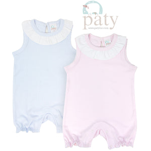 Paty Sleeveless Romper, Pink or Blue - Posh Tots Children's Boutique